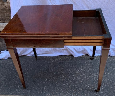 Vintage Leather U0026 Wood Game Table, 1920s