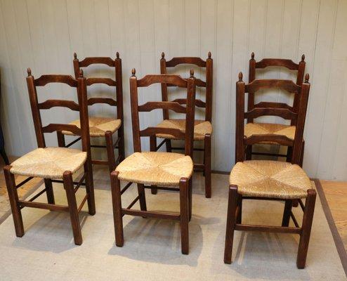 BucheFlechtsitz6er mit Gestell Antike französische Beistellstühle Set aus nm0ONwv8