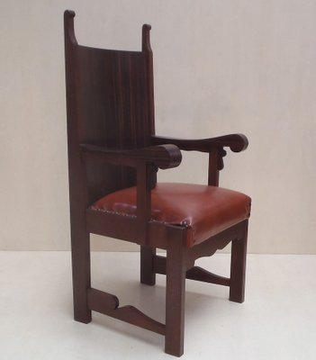 Superb Large Antique German Oak Cow Leather Varnish Lounge Chair 1910S Alphanode Cool Chair Designs And Ideas Alphanodeonline