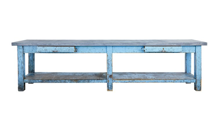 19th Century Painted Pine And Zinc Worktable For Sale At Pamono