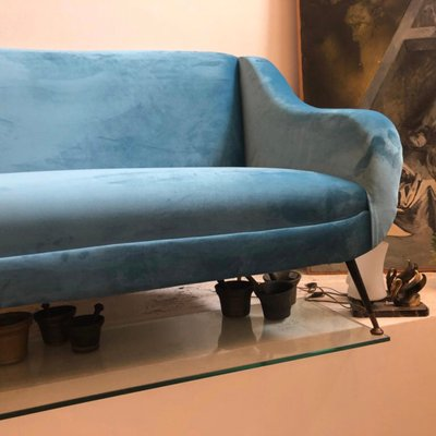 Mid Century Modern Light Blue Velvet Italian Sofa 1960s For Sale