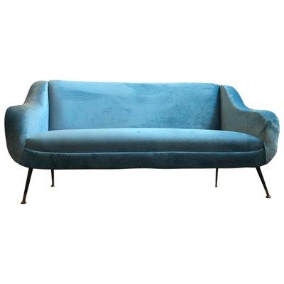 Excellent Mid Century Modern Light Blue Velvet Italian Sofa 1960S Cjindustries Chair Design For Home Cjindustriesco