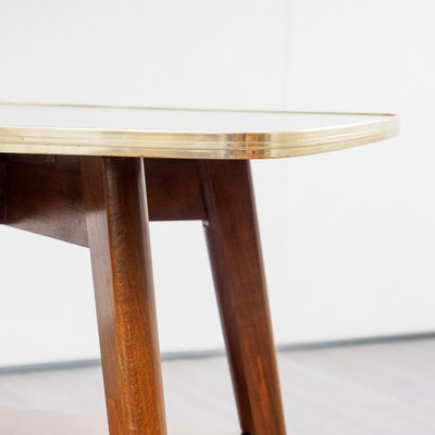 Exceptionnel Mid Century Brass And Wood Side Table, 1950s