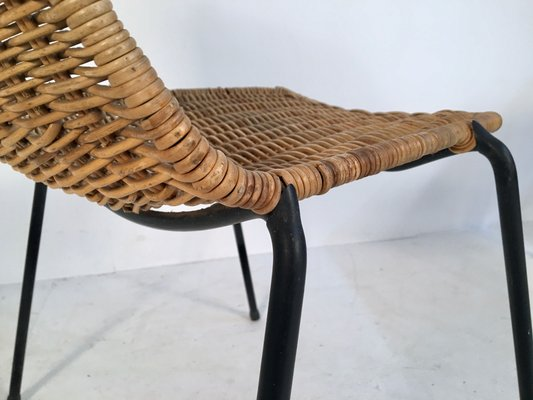 Italian Iron & Wicker Side Chairs by Campo e Graffi for Home Torino, 1950s, Set of 2