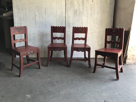Antique Painted Wooden Dining Chairs