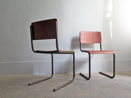 Style Métal De ContreplaquéAllemagne1950sSet En Bureau Chaises Bauhaus Et 2 CBdxoe