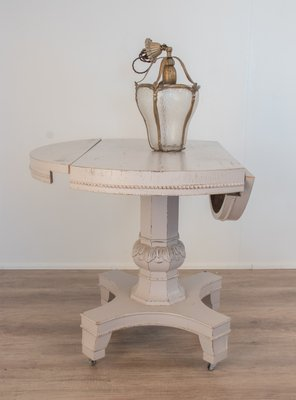 Round Antique Italian Fir Drop Leaf Dining Table For Sale At Pamono
