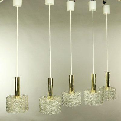 Mid Century Brass Ceiling Lamps from Doria Leuchten, Set of 5