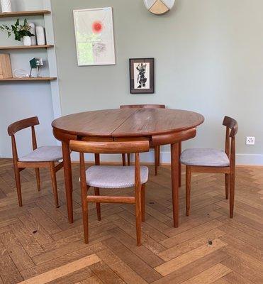 Tavolo da pranzo e sedie in teak di Hans Olsen per Frem Røjle, Danimarca,  anni \'60