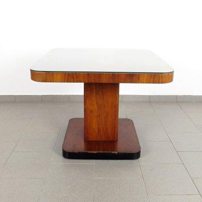 Tavolino da caffè Art Déco in vetro e legno di Thonet, anni \'30