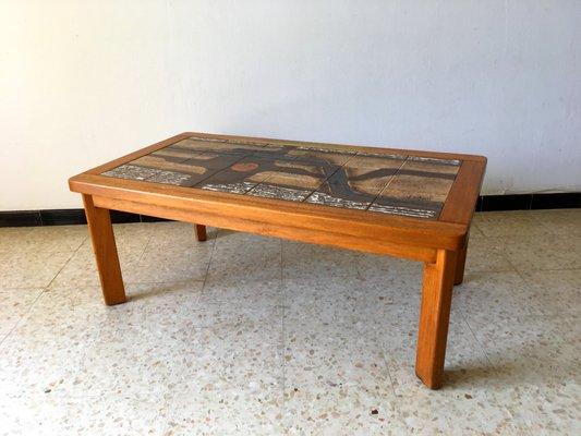 100% authentique ccea6 efa93 Table Basse en Céramique de Vallauris et Bois par Jean d'Asti, France, 1960s