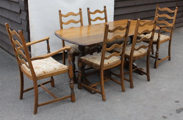 Oak Dining Table Chairs Set 1940s