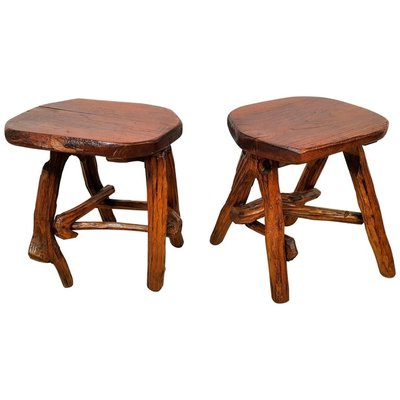 Outstanding Rustic French Wooden Stools 1960S Set Of 2 Machost Co Dining Chair Design Ideas Machostcouk