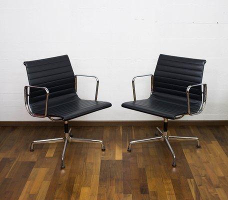 Vintage German Aluminum U0026 Skai EA107 Desk Chairs By Charles U0026 Ray Eames For  Vitra, Set Of 2