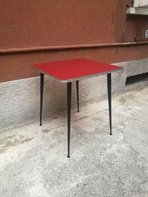 Table De Salle A Manger Mid Century En Formica Rouge Italie 1960s