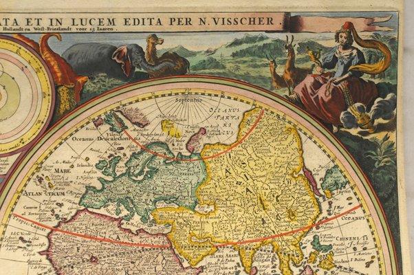 Antique Dutch World Map By N Visscher 1677