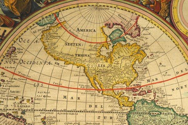 Antique Dutch World Map by by N. Visscher, 1677
