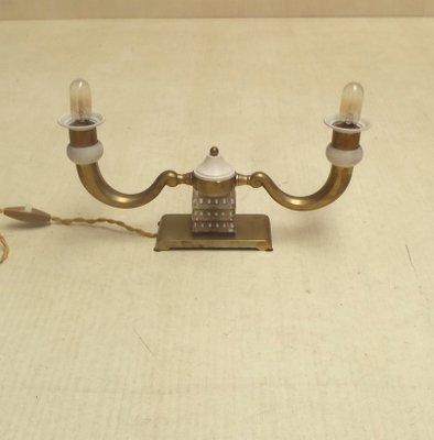 Französische Art Deco Tischlampen Aus Messing Bronze 1930er 2er Set