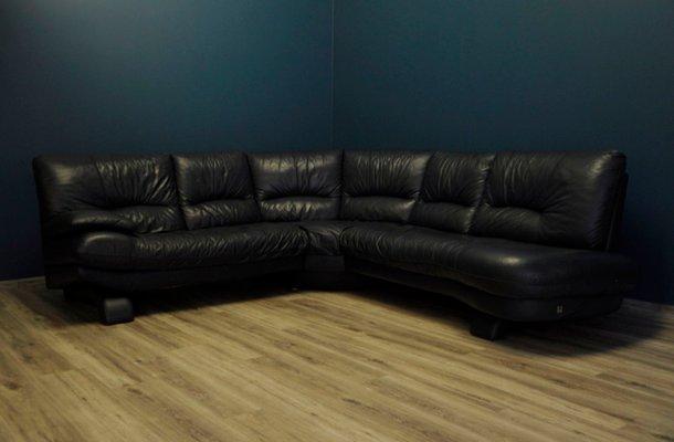 Large Vintage Italian Leather Corner Sofa from Nicoletti, 1980s