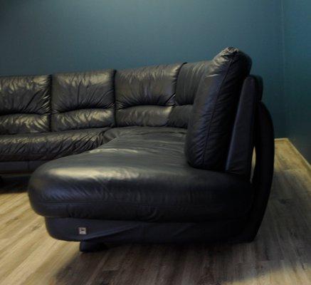 Vintage Italian Leather Corner Sofa