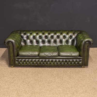 Vintage Green Leather Chesterfield Sofa, 1980s
