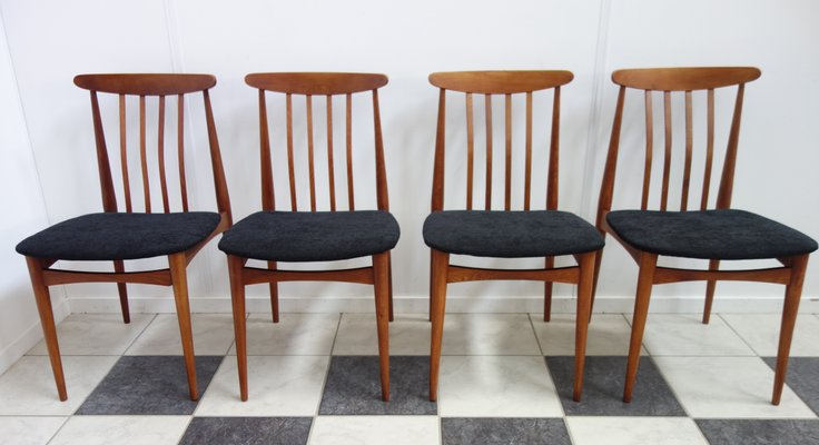 Vintage Czech Wood & Black Fabric Dining Chairs, 1960s, Set of 4