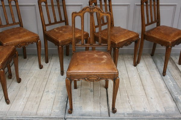 Pleasant Antique French Leather And Oak Dining Chairs Set Of 6 Gamerscity Chair Design For Home Gamerscityorg