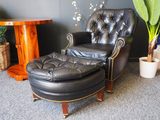 Excellent Chesterfield Armchair Ottoman Set From Hancock Moore 1990S Gmtry Best Dining Table And Chair Ideas Images Gmtryco