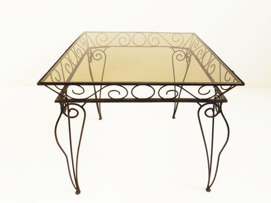 Tavolo In Ferro E Vetro.Italian Iron And Colored Glass Garden Table From Case E Giardino
