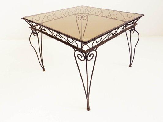 Table de Jardin en Fer et Verre Coloré de Case e Giardino, Italie, 1950s