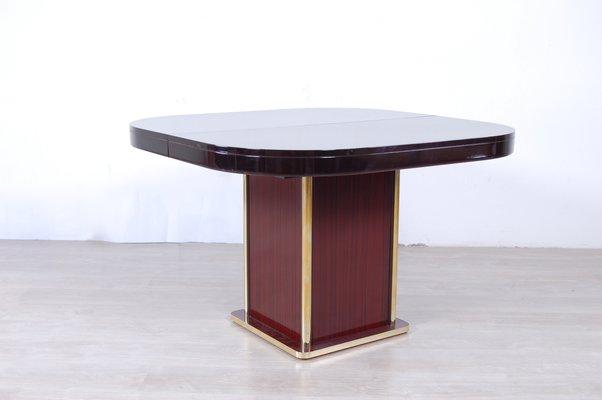 Tavolo da pranzo moderno in ottone e mogano, Italia