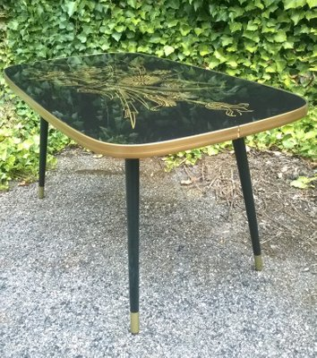 French Compressed Wood And Etched Gl Coffee Table 1960s