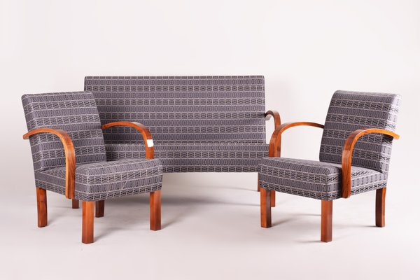 Art Deco Walnut Living Room Set, 1930s