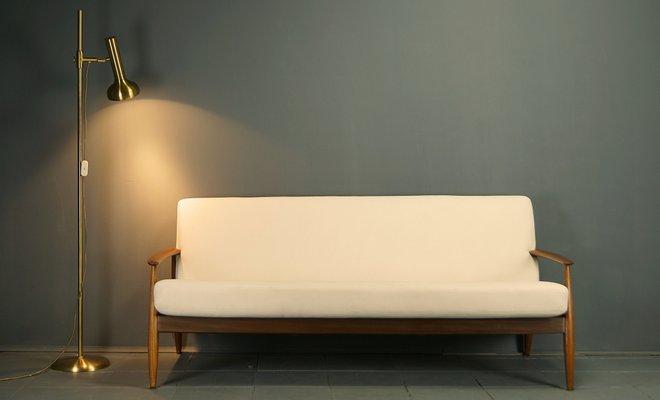 Skandinavisches 3 Sitzer Sofa Aus Teak Leinen 1960er