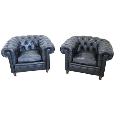 Frau Poltrone.Leather Chesterfield Lounge Chairs From Poltrona Frau 1960s Set Of 2