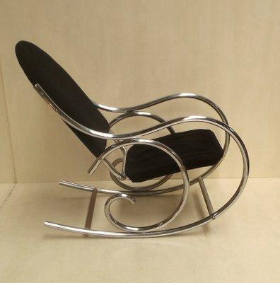 Sedia A Dondolo Tessuto.Sedia A Dondolo Modernista In Metallo Cromato E Tessuto Jersey