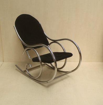cheaper 76f9a 77ea1 French Modernist Chrome and Jersey Knit Rocking Chair, 1970s