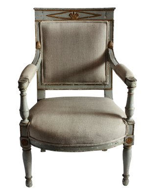 Superb Antique Wood And Linen Armchair 1810S Machost Co Dining Chair Design Ideas Machostcouk