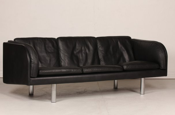 Danish Model EJ 03/20 Black Leather Sofa by Jörgen Gammelgaard for Erik  Jørgensen Møbelfabrik, 1980s