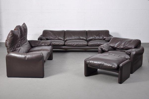 Vintage Italian Leather Modular Sofa Set by Vico Magistretti for Cassina