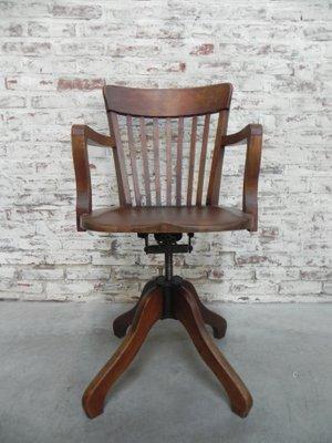 Chaise De Bureau Industrielle En Fonte Et Chene France 1930s