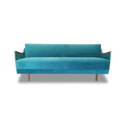 Mid-Century Danish Blue Velvet Sofa Bed, 1960s