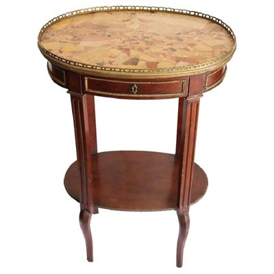 Antique Mahogany Gilded Bronze Side Table With Marble Top 1880s