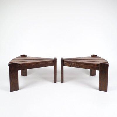 Brutalist Dutch Wooden Side Tables From Van Gils, 1960s, Set Of 2