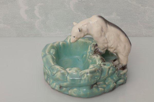 Vintage Porcelain Polar Bear Sculpture