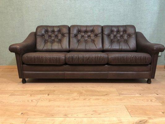 Vintage German Cow Leather Sofa Bed