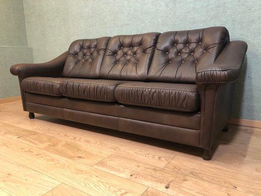Excellent Vintage German Cow Leather Sofa Bed 1970S Lamtechconsult Wood Chair Design Ideas Lamtechconsultcom