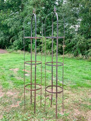 Vintage Wrought Iron Garden Obelisks, Set Of 2