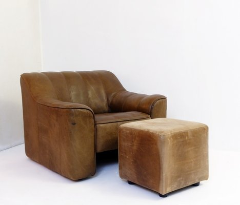 Leather Ds44 Lounge Chair Ottoman Set From De Sede 1970s