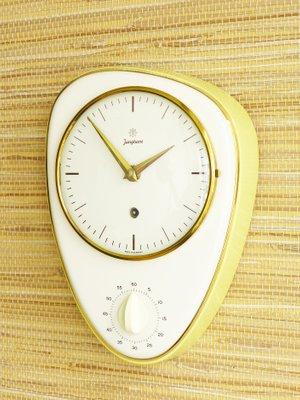Orologio da cucina in ceramica con timer di Junghans, Germania, anni \'50
